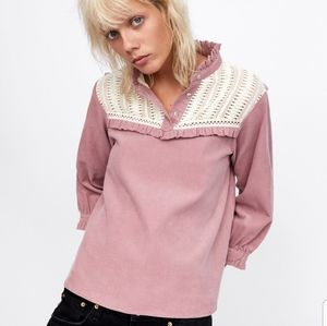 Zara | Pretty Blush Fine Corduroy Top